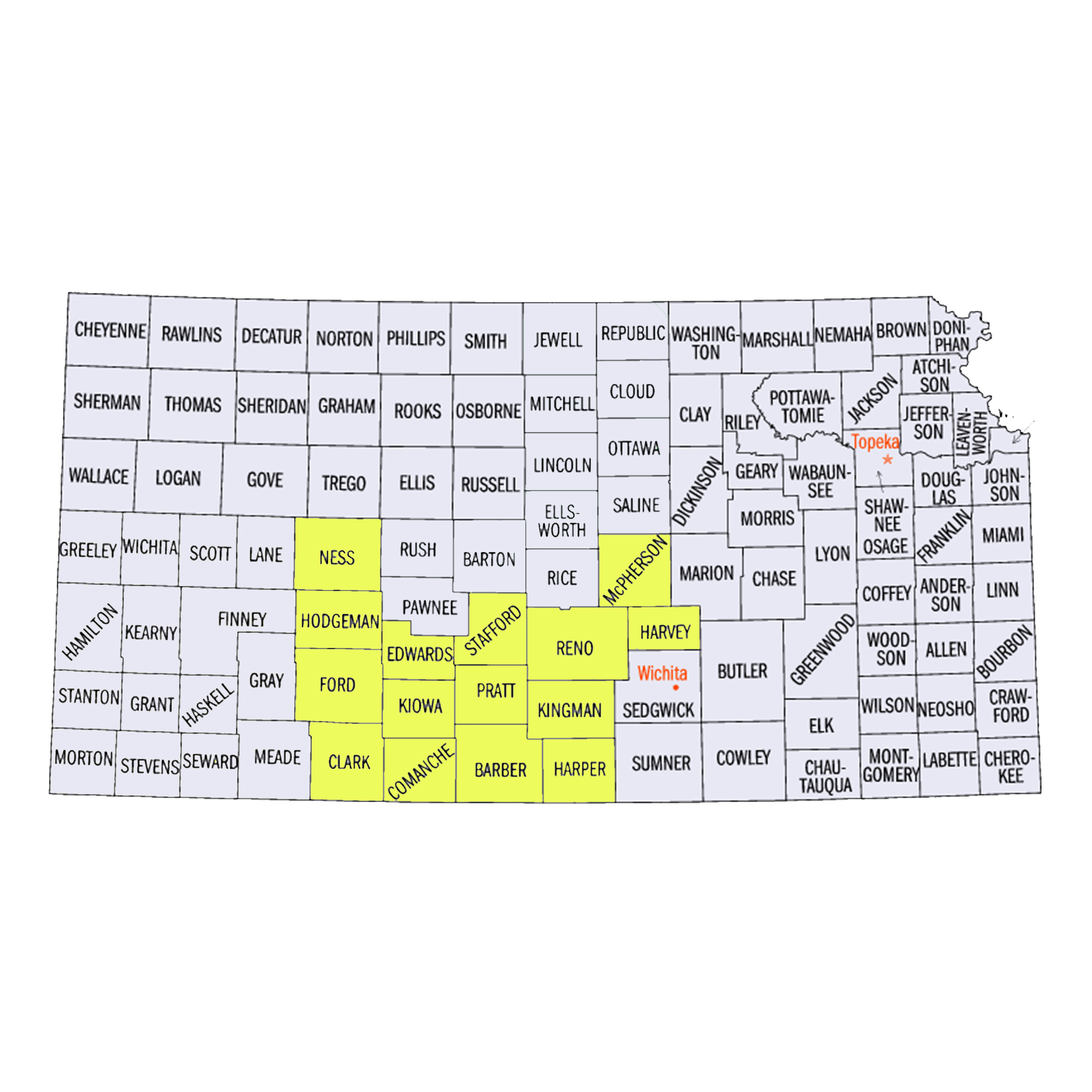 Barber County Clarke County Comanche County Edwards County Ford County Harper County Harvey County Hodgeman County Kingman County Kiowa County McPherson County Ness County Pratt County Reno County Stafford County